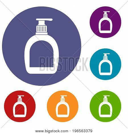 Bottle with liquid soap icons set in flat circle red, blue and green color for web
