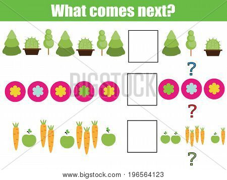 What comes next educational children game. Kids activity sheet, training logic, continue the row
