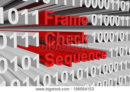 Frame check sequence in the form of binary code, 3D illustration