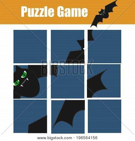 Educational children game. Puzzle kids activity. Halloween theme. restore the picture with mosaic pieces