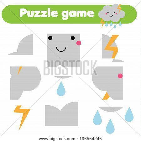 Educational children game. Puzzle kids activity. Weather theme. restore the picture with mosaic pieces