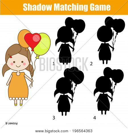 Shadow matching game for children. Find the correct shadow. for kids preschool and school age. Cute girl character