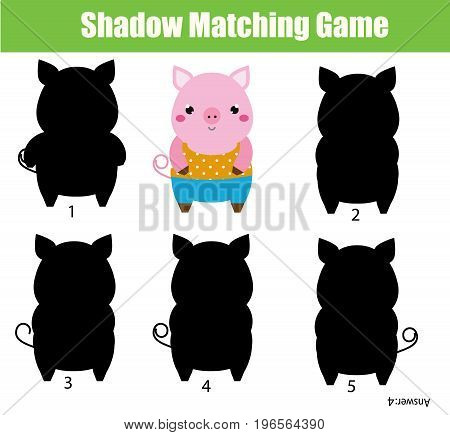 Shadow matching game for children. Find the right shadow. Activity for preschool kids. Cute pig character. Animals theme