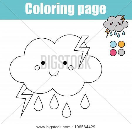 Coloring page with cute cloud character. Color the picture drawing activity. Educational game for pre school aged kids, weather theme. Printable kids activity
