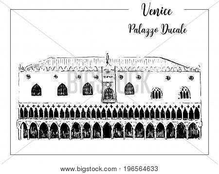 Doge's Palace or Palazzo ducale. Venice architectural symbol. Beautiful hand drawn vector sketch illustration. Italy. For prints textile advertising poster label City panorama tourism postcard