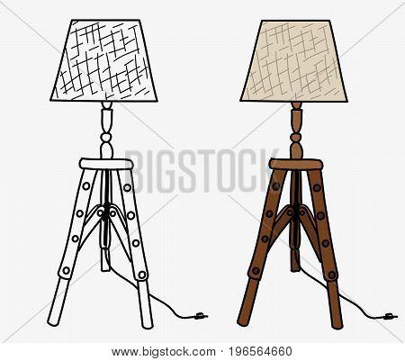 TRIPOD WOODEN EASEL LAMP FLAT ILLUSTRATION VECTOR