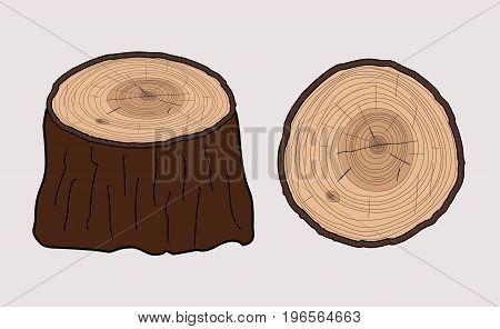 TREE STUMP, WOOD TRUNK FLAT ILLUSTRATION VECTOR