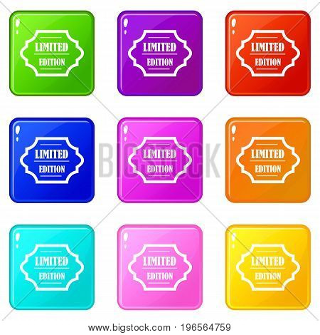 Limited edition icons of 9 color set isolated vector illustration