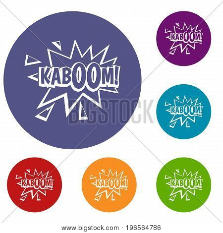 Kaboom, explosion icons set in flat circle red, blue and green color for web