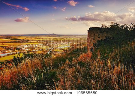 View To Labe River In Lovosice City From Hill Radobyl  In Chko Ceske Stredohori Area At Evening In C