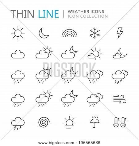 Collection of weather thin line icons. Vector eps10