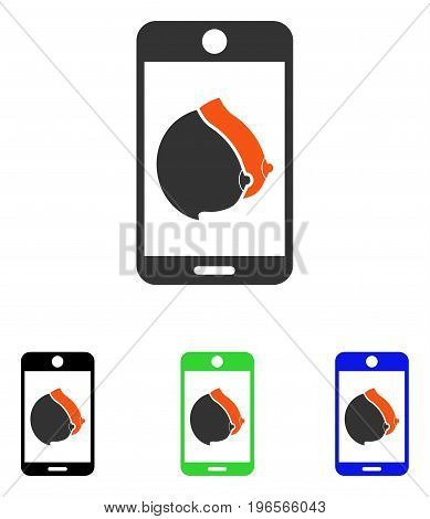 Mobile Erotic Tits vector pictograph. Illustration style is a flat iconic colored symbol with different color versions.