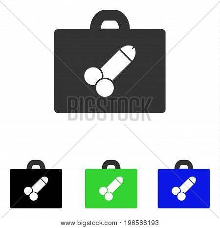 Sexual Toolbox vector pictograph. Illustration style is a flat iconic colored symbol with different color versions.