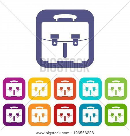 Diplomat bag icons set vector illustration in flat style in colors red, blue, green, and other