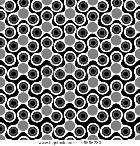 Hand Spinners Seamless Pattern. Vector Illustration On Black Background. Monochrome Background