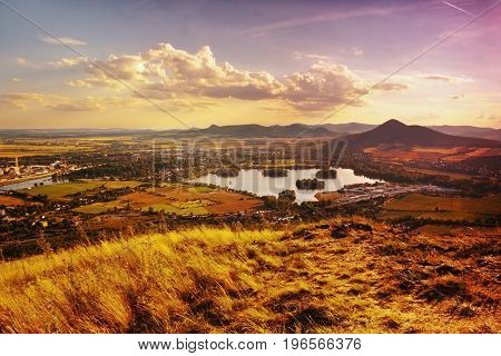 View To Zernosecke Jezero Lake And Lovos Hill From Radobyl Hill  In Chko Ceske Stredohori Tourist Ar