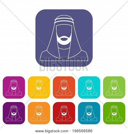 Arabic man in traditional muslim hat icons set vector illustration in flat style in colors red, blue, green, and other