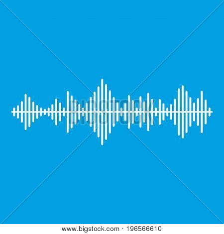 Musical pulse icon white isolated on blue background vector illustration