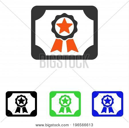 Award Diploma vector pictogram. Illustration style is a flat iconic colored symbol with different color versions.