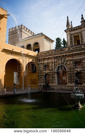 Waterfall at the Alcazar in Seville, Spain, Europe