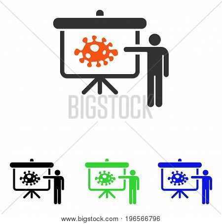 Bacteria Lecture vector pictograph. Illustration style is a flat iconic colored symbol with different color versions.
