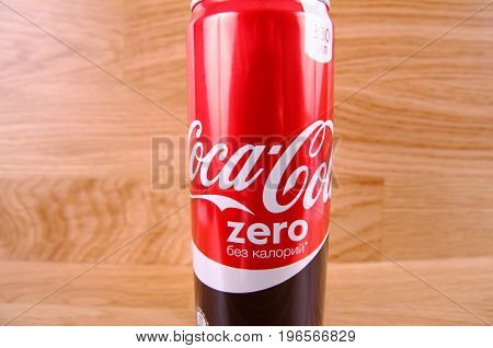Saransk, Russia - July 23, 2017: Can of CocaCola Zero on wooden background.