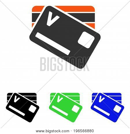 Banking Cards vector icon. Illustration style is a flat iconic colored symbol with different color versions.