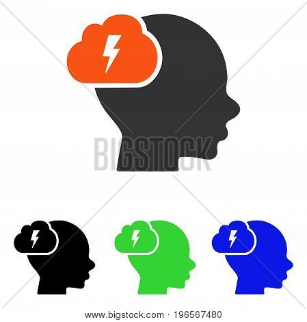 Brainstorm vector pictogram. Illustration style is a flat iconic colored symbol with different color versions.