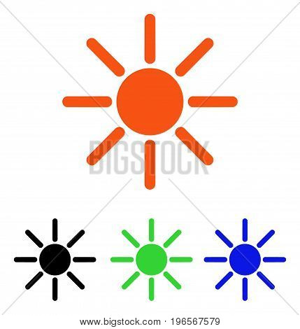 Brightness vector icon. Illustration style is a flat iconic colored symbol with different color versions.
