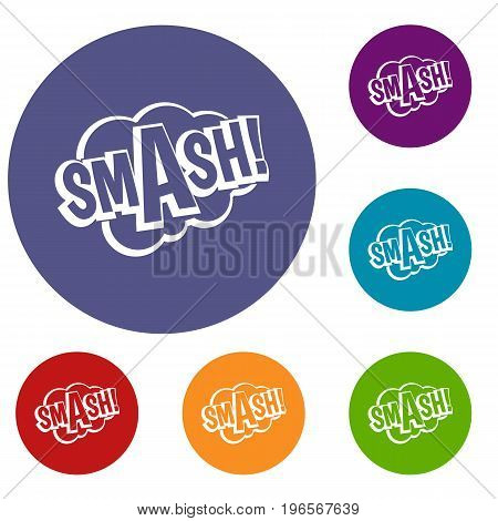 SMASH, comic book bubble text icons set in flat circle red, blue and green color for web