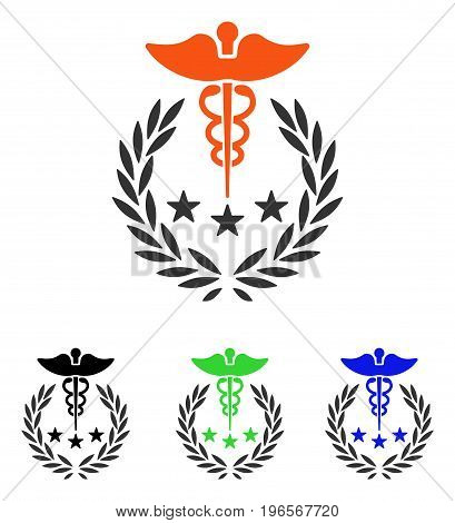 Caduceus Logo vector pictograph. Illustration style is a flat iconic colored symbol with different color versions.