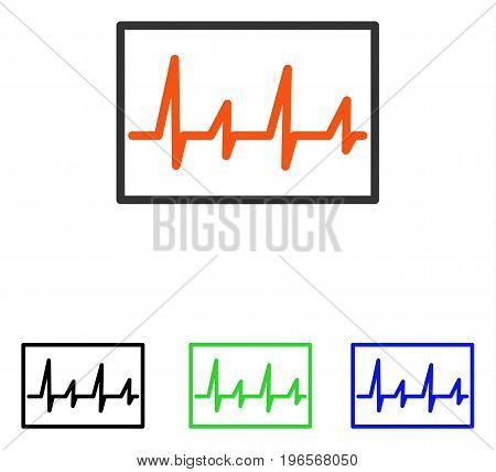 Cardiogram vector icon. Illustration style is a flat iconic colored symbol with different color versions.