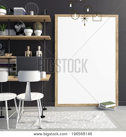 Modern interior in the style loft a place for study consisting of shelves lamps working Desk and a poster . 3D illustration. poster mock up