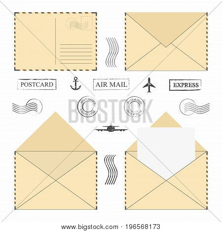 Mail Envelope Set. Vintage Mail Envelopes With Postal Stamps, Frames And Blank Letter