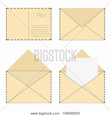 Mail Envelope Set. Vintage Mail Envelopes With Stamps And Blank Letter