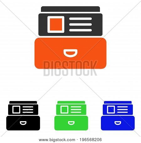 Catalog vector icon. Illustration style is a flat iconic colored symbol with different color versions.