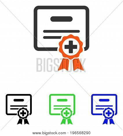 Certificate Diploma vector icon. Illustration style is a flat iconic colored symbol with different color versions.