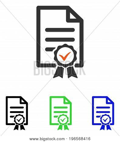 Certified vector pictogram. Illustration style is a flat iconic colored symbol with different color versions.