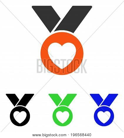 Charity Medal vector icon. Illustration style is a flat iconic colored symbol with different color versions.