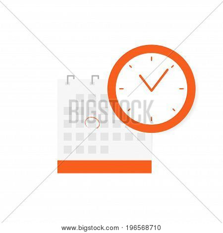 Schedule, Appointment, Important Date Concept. Calendar Icon And Clock Icon Isolated On White Backgr