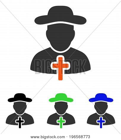 Cleric vector pictograph. Illustration style is a flat iconic colored symbol with different color versions.