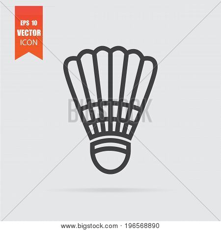 Shuttlecock Icon In Flat Style Isolated On Grey Background.