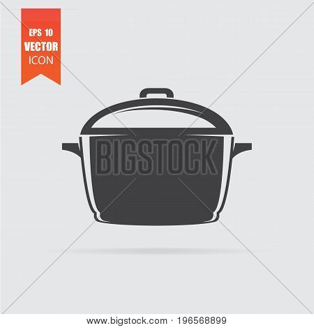 Pan Icon In Flat Style Isolated On Grey Background.