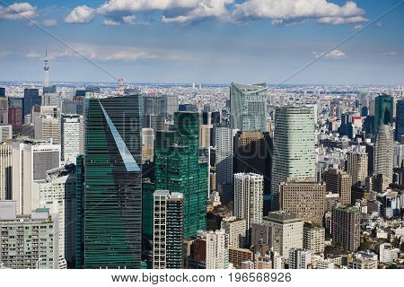 JAPAN TOKYO-FEBRUARY 14 2017: Tokyo with skyline in Tokyo Japan.
