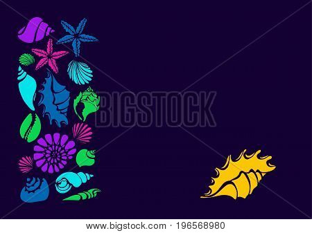 Color template. Set of silhouettes of sea shells. Starfish shell conch spiral helix. Vector illustration