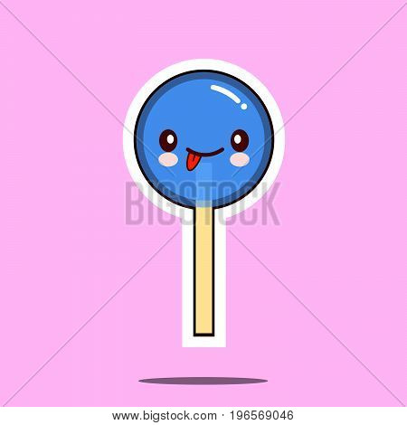 kawaii candy lollipop character cartoon emoticon face icon. Flat design Vector Illustration