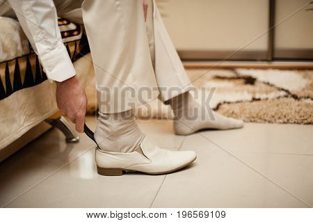 The Man Wears Shoes. Tie The Laces On The Shoes. Men's Style. Professions. To Prepare For Work, To T