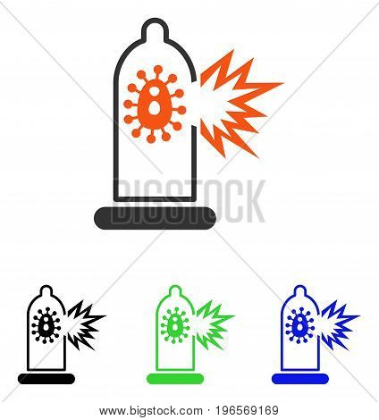Condom Infection Damage vector icon. Illustration style is a flat iconic colored symbol with different color versions.