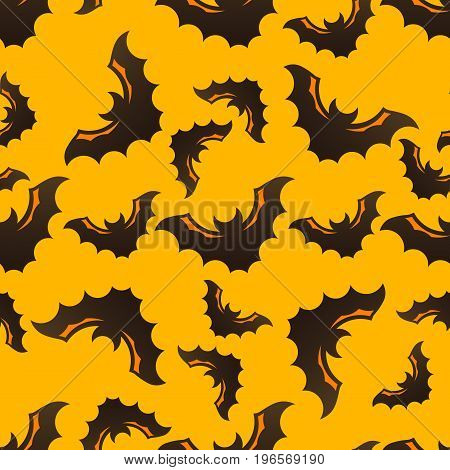 Halloween seamless pattern with bats on bright yellow background. Modern styled flat design. REcomended for holiday banners, textile, paper cards, seasonal wallpapers, party decoration