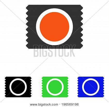 Condom Pack vector pictograph. Illustration style is a flat iconic colored symbol with different color versions.